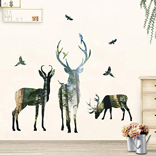 Cartoon Forest Fawn Vinyl Wall Stickers Funny Animal Art Wall Decals for Kids Rooms Bedroom Living Room Home Decor