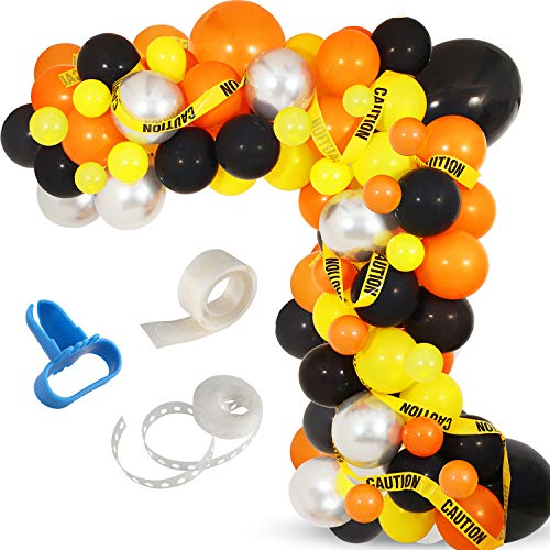 Construction Party Balloon Garland Kit, 120 Pack Orange Black Yellow Balloons Garland Kit for Construction Quarantine Birthday Party Decorations