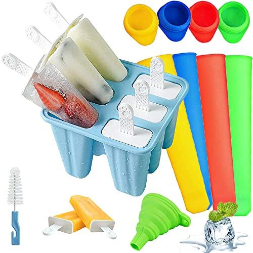 Moldes para Helados de Silicona, Reutilizable Molde para Hacer paletas para Hacer Helados, 11 Pack Juego de Moldes para polos--6 Moldes de helado, 4 Moldes para polos, 1Plegable Embudo, libres de BPA
