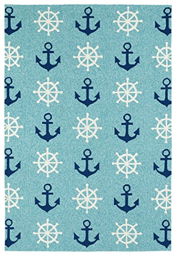 Kaleen Rugs Sea Isle Collection SEA06-17 Blue Handmade 7'6' x 9' Rug