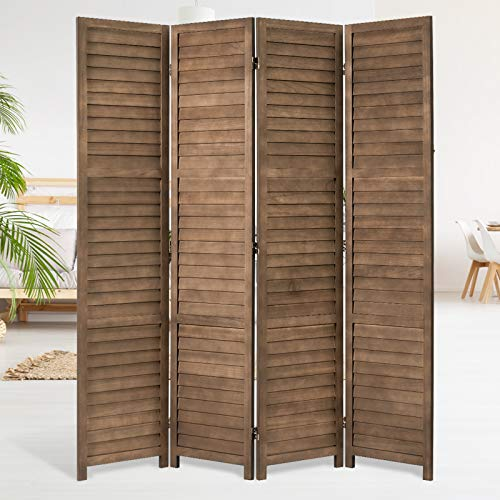 YODOLLA 5.6 Ft Tall Room Divider,4 Panel Wood Privacy Screen Room Divider Freestanding, Room Partition Wall Dividers for Bedroom,Office
