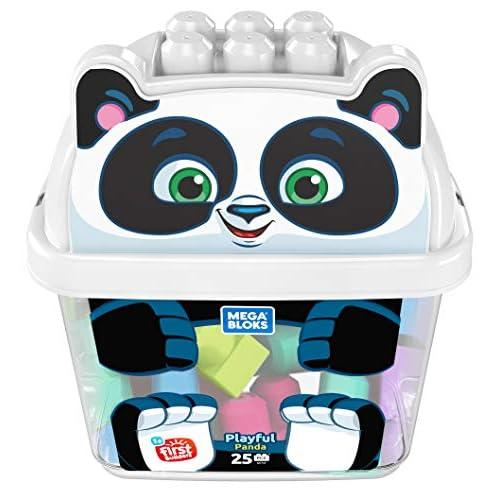 Mega Bloks-GCT47 Secchiello Cucciolo Panda 25, Blocchi di Costruzione con Vasca di stoccaggio, Multicolore, GCT47