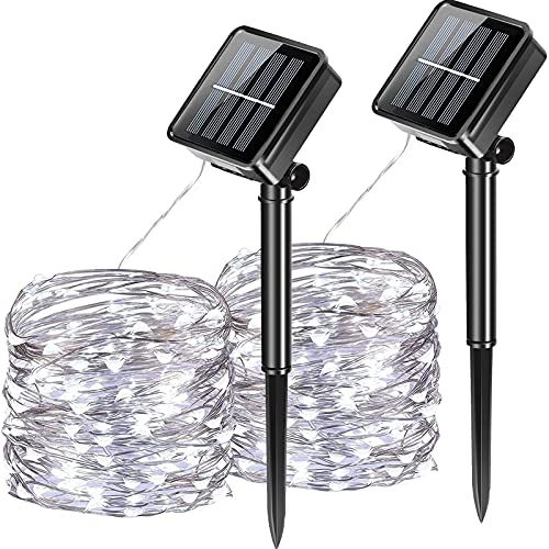 CXtech confezione da 2 luci solari da esterno, 100 LED a 2 modalità, luci a stringa, luci da giardino impermeabili, per feste di matrimonio, feste in cortile e patio di casa (33 piedi/10 m bianco)