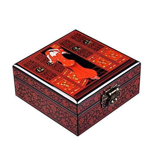 YDJGY Schmuckkästen, Holzschatulle aus rotem Rosenholz, geschnitzter Schatztruhe-Kosmetikspiegel mit Aufbewahrungsbox