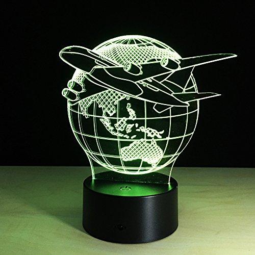 3D Avion Volant De La Terre Nuit Lampe 16 Couleurs Changeantes Puissance Usb Contact Switch Lampe Art Table Chevet Décor Illusion Led Lampe De Table Anniversaire Noël Cadeau Enfants Jouets
