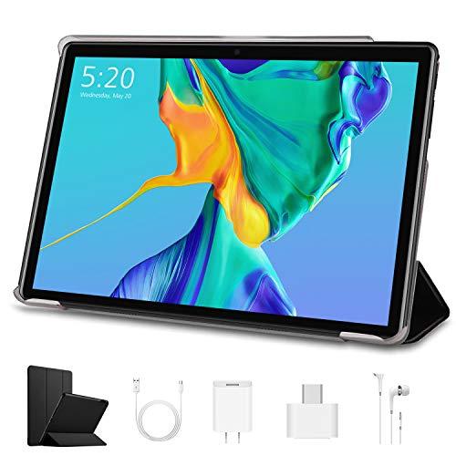 10.1 inch Tablets, Android 9.0 Quad-Core WiFi Tablets, 8000mAh, 3 GB RAM, 64 GB Storage, 1920 x 1200 IPS Display, Dual Cameras, Bluetooth, GPS, FM (Black)