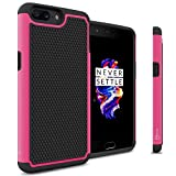 CoverON Heavy Duty Hybrid HexaGuard Series for OnePlus 5 Case, Hot Pink on Black