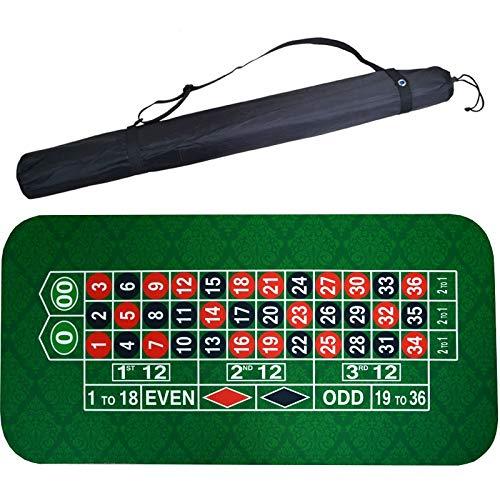 180 * 90cm Quadrat Gummi grün Roulette Black Jack Poker Tisch Tischset Tuch Tischspiel mit Umhängetasche