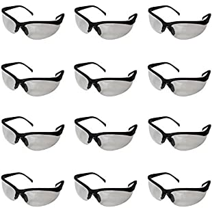Kurtzy 12 Pack of Black Clear Lens Protective Safety Glasses Goggles by Bulk Set of Eyewear for Use in the Chemistry Lab, on Building Sites, with Chemicals and more - Flexible Design for Comfort
