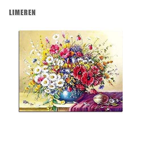 MBYWQ Verf Door Aantal Saffraan Wit Bloemen Tafel Stilleven Kleurplaten Door Getallen(Zonder Framed)