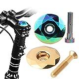 Tapa Potencia Bicicleta,Tianher 2 Piezas Cubierta para Auriculares de Bicicleta Tornillo y Tapa Potencia Dirección de Aleación AluminioTapón para Montar Montaña Horquilla de 32 mm Diámetro.