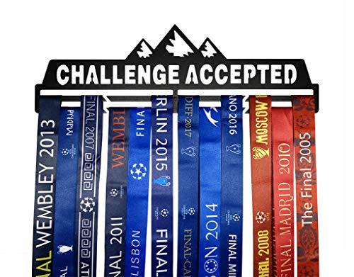 Medaillenhalter / Medaillenhalter / Medaillenhalter, Metall, zur Wandmontage, Schwarz und silberfarben, challenge accepted medal hangers, Schwarz , 40*12.7*3.0 cm