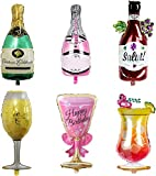 DAITOI Party Wine Glass Bottle Balloons Party Decoration for Wedding Birthday Party 6 Pics Bottle Goblet Aluminum Foil Balloons Party Supplies