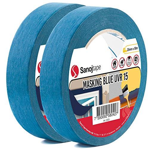 Sanojtape Professionelles UV-beständiges Abklebeband (2-Pack) Blau 25mm x 50m Für Innen und Außen Malerkrepp Malerband Malerabdeckband Abklebeband für alle Oberflächen