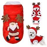 Fossrn Disfraz Perro Navidad Ropa Chihuahua Yorkshire Sudaderas con Capucha de Asta de Alce - Papá Noel Invierno Ropa para Mascota Cachorro