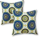 Greendale Home Fashions Set of 2 Outdoor 17-inch Square Throw Pillows, Cobalt Medallion