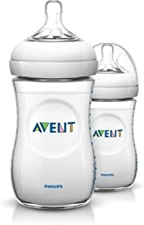 Philips Avent Natural Baby Bottle for 1m+ Babies with Slow Flow Teat, BPA Free, 260ml, 2 Bottles