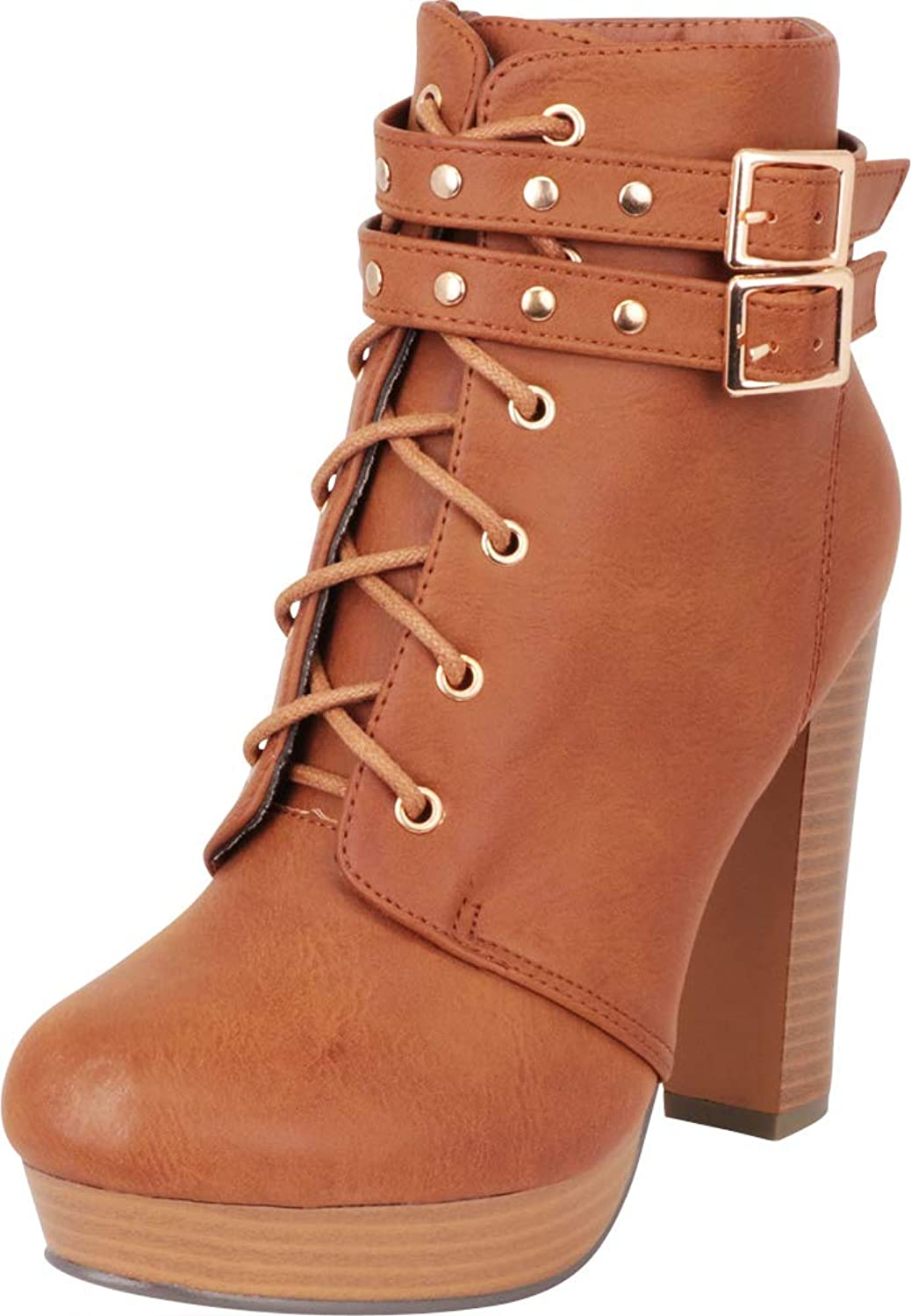 Cambridge Select Women's Studded Strappy Buckle Lace-Up Chunky Platform High Heel Ankle Bootie