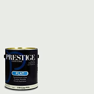 Prestige Paints E100-P-SW7007 Exterior Paint and Primer in One, 1-Gallon, Flat, Comparable Match of Sherwin Williams Ceiling Bright White, 1 Gallon, SW18-Ceiling
