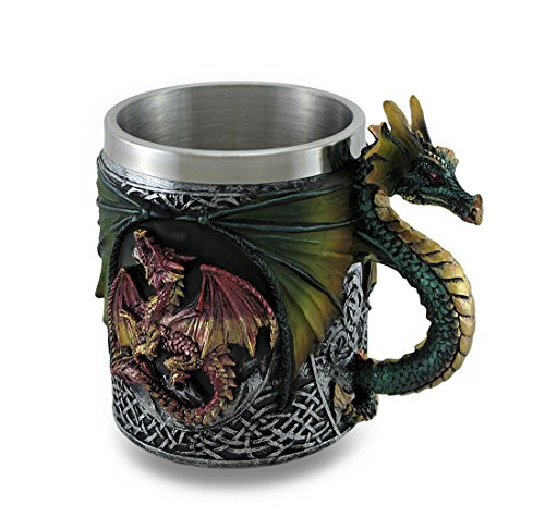 Gothic Dragon Tankard Celtic Knot work Mug w/Stainless Steel Insert