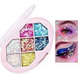 Glitter Eyeshadow Makeup Palette -Small Sequins Shimmer Matte Eyeshadow Professional Makeup Natural Long Lasting Waterproof Eye Shadow (7 Colors #1)