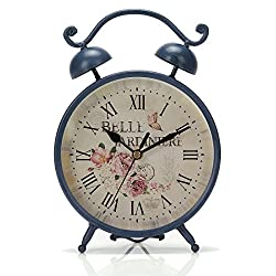 Chaomian Home Ornaments 9.6x6.6 Handcrafted Metal Round Analog Silent Covered Quartz Desktop Clock with Handle,Glass on Front (Blue)
