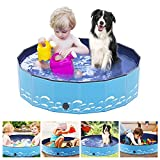 Number-one Dog Pool PVC Foldable Pet Swimming Pool Portable Collapsible Non-Slip Paddling Pool Bathing Tub Children Kid Ball Water Pond Kiddie Pool for Garden Patio Bathroom Outdoor,Blue (M: 80X20cm)