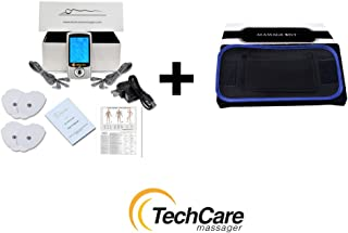 Lifetime Warranty TechCare Pro Tens Unit Massager Unit Electric Massage Set 20 Modes + Fat Burner Belt for Pain Relief Therapy Lactic, Nerve Disorder, Plantar Fasciitis, Carpal Tunnel, Calve Injuries