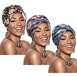3 Piezas Gorro Turbante para Mujeres Gorro de Nudo Pre-Atado Turbante de Modo Pañuelo de Cabeza de Perdida de Pelo (Azul, Gris, Negro)