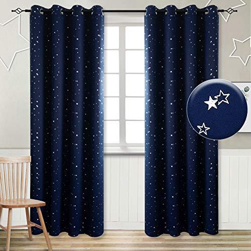 Vorhänge Sterne Verdunkelungsvorhänge mit Ösen 2 Stücke Romatisch Blickdicht Gardine für Wohnzimmer Kinderzimmer Schlafzimmer(H 245 X B 140cm,Dunkelblau)