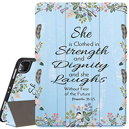 iPad Pro 12.9 Case 2020,Christ Quotes Bible Verse Proverbs 31:25 Pattern Anti-Scratch Shock Proof with Pencil Holder TPU Back Stand Protection Case Cover for 2020/2018 iPad Pro 12.9 4th Generation
