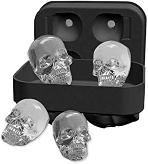 Skull 4 Ice Cube Mold Silicone Tray Skulls, 4 3D Skulls, Leak Free, BPA Free Silicone Ice Cube Maker, Whiskey Ice, Chocolate, Soap and Bath Bomb Molds