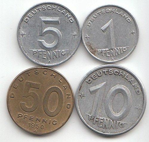 DDR Münzset sehr schön 1-50 Pfennig 1948-1950