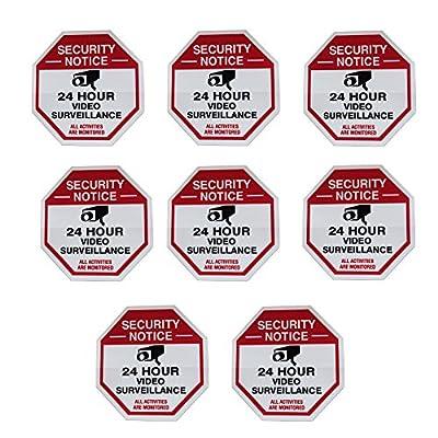 8 Red Octagon-Shaped Video Surveillance System Security Door & Window Stickers 3 X 3 Inch Vinyl Decals