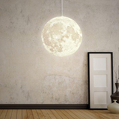 W-BRILLIGHT Pendelleuchte Mond Hängeleuchte PLA Moon Pendelleuchten Industrielle Deco lampe Beleuchtung Leuchte Höhenverstellbar für Lounge Restaurants Keller Bars