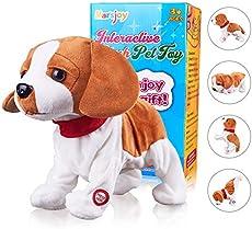 "Pekingese Dog Interactive Barking Puppy Plush Animated Pet Electronic Dog Cute Robot Dog Baby Toys Touch Control Plush Stuffed Animal Dog Toy Toddler Kids Girl Toys Length 12"""
