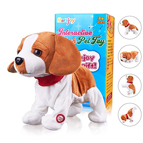 Jingba Dog Interactive Puppy Plush Animated Pet Electronic Dog Cute Robot Dog Baby Toys Touch Control Plush Stuffed Animal Dog Toy Toddler kids Girl Toys Tumbling, Clapping hands, Bowing Length 12'