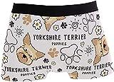 BONRI Precioso Pug Yorkshire Terrier, Ropa Interior para Perros, Ropa Interior Divertida y Bonita para Hombres, Calzoncillos bóxer novedosos de Licra de poliéster Suave