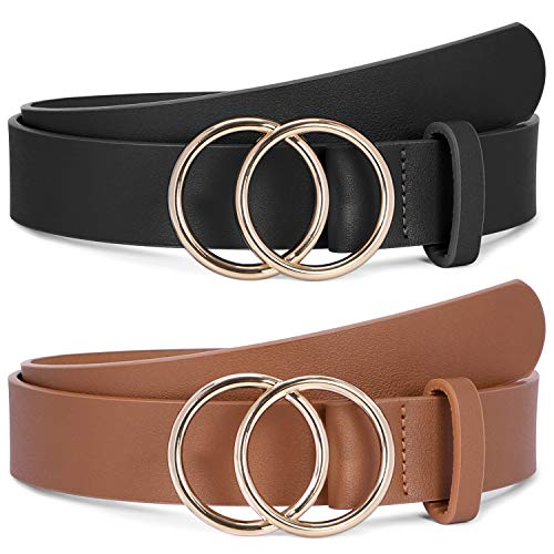 Black and Brown Women Leather Belt with Gold Double O-Ring Buckle Fashion Designer Belts for Women 2 Pack