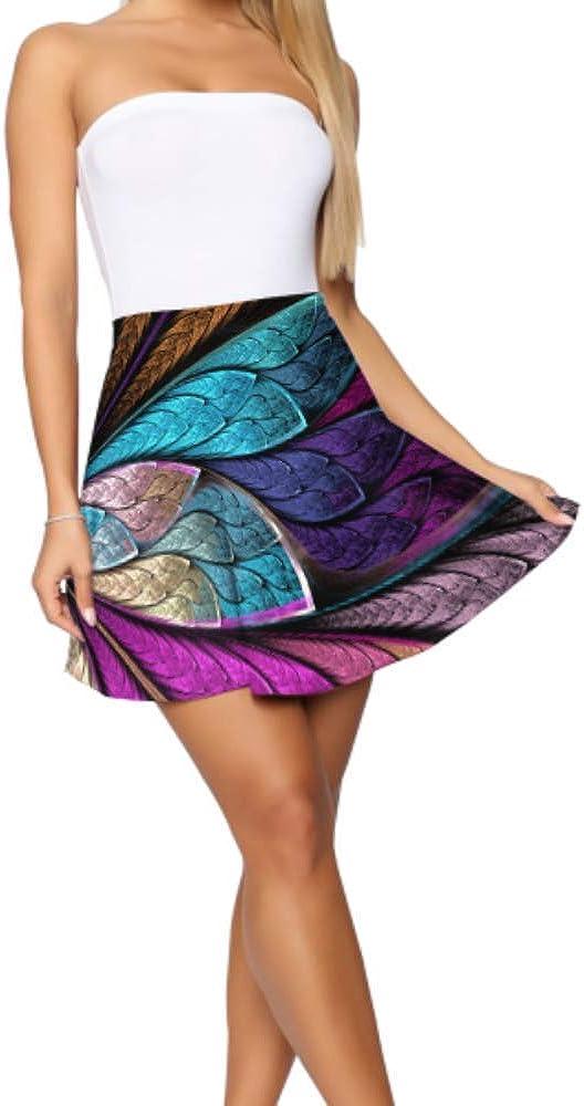 Skater Girl Skirt Beautiful Fractal Flower Butterfly Stained Glass Women Skater Skirt Women's Basic Casual High Waist Mini Skirt S-XL