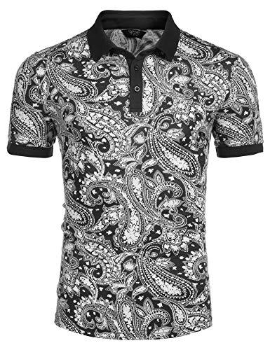 COOFANDY Men's Paisley Polo Shirt Casual Short Sleeve Floral Print Shirt (Large, Black)