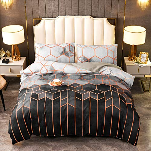 Bettwäsche 200x200, 3 teilige Bettwäsche-Sets Bettwaren inkl. 1 Bettbezug mit 2 Kissenbezüge mit Reißverschluss,aus 100% Mikrofaser, für Kinder, Ewachsen, Geometrie Muster, Grau