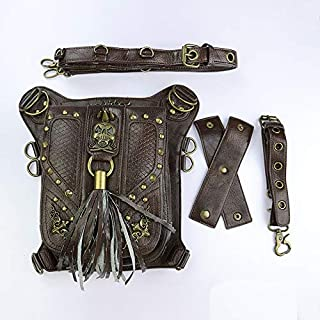 Mens Bag Female Europe And America Steampunk Retro Shoulder Bag Oblique Rivet Waist Bag Retro Shoulder Slung Sports Pockets Student Bag Leisure Travel Backpack Shoulder Bag High capacity