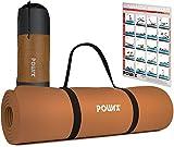 POWRX Gymnastikmatte Yogamatte Premium inkl. Tragegurt & Tasche sowie Übungsposter I Sportmatte Phthalatfrei, SGS geprüft, 183 x 60 x 1 cm I Matte hautfreundlich I versch. Farben (Braun)