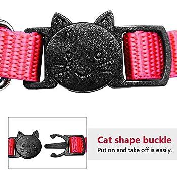Collier personnalisé pour chat, collier pour chat avec clochette et carte d'identification brodée (1 pièce)