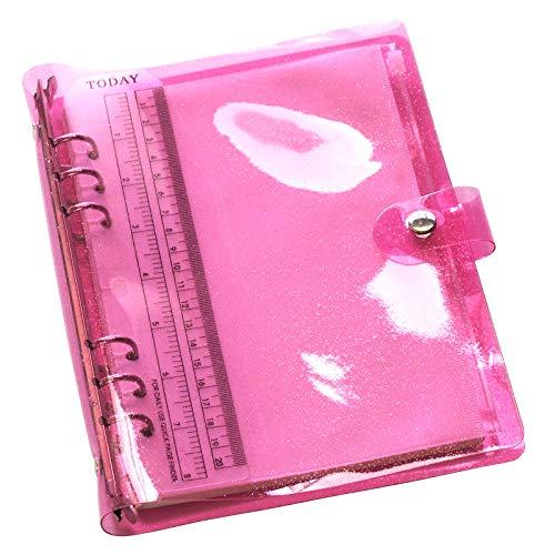 TSUKURIRO ラメピンク 半透明バインダー システム手帳 リング リフィル ファスナークリアポケット 無地ノート 付き セット (A5サイズ)