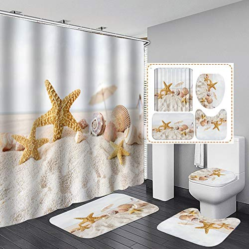 Hankyky Seastar Duschvorhang Set Muscheln Seestern Strand Bad Duschvorhang mit rutschfesten Teppichen Toilettendeckel und Badematte, Stoff Wasserdichtes Badezimmerzubehör Set mit Vorhanghaken