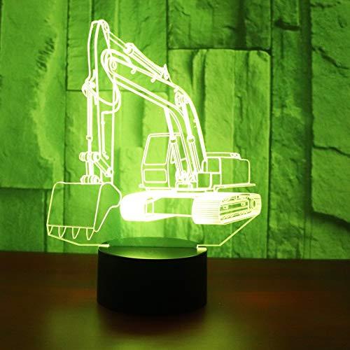 3D LED Night Light Escavatore escavatore di macchinari con 7 colori di luce per la decorazione domestica Lampada Visualizzazione stupefacente