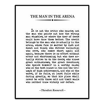 The Man in the Arena Inspirational Quote Print Book Page Sign Graduation Gift Home Decor Office Wall Decor Great Quote 8 x 10 Inches Unframed