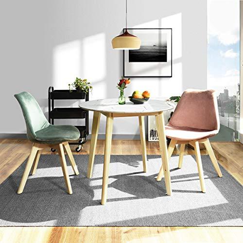 Furnish1 - Tavolo da pranzo rotondo da 2 a 4 persone, piedi in legno, stile scandinavo, moderno, 80 x 80 cm
